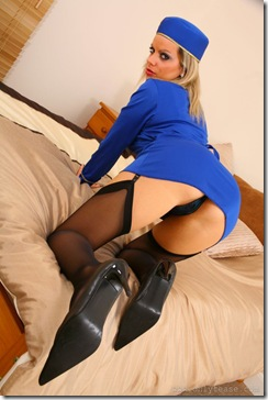 Only Tease - Kate C In Blue Flight Hostess Uniform
